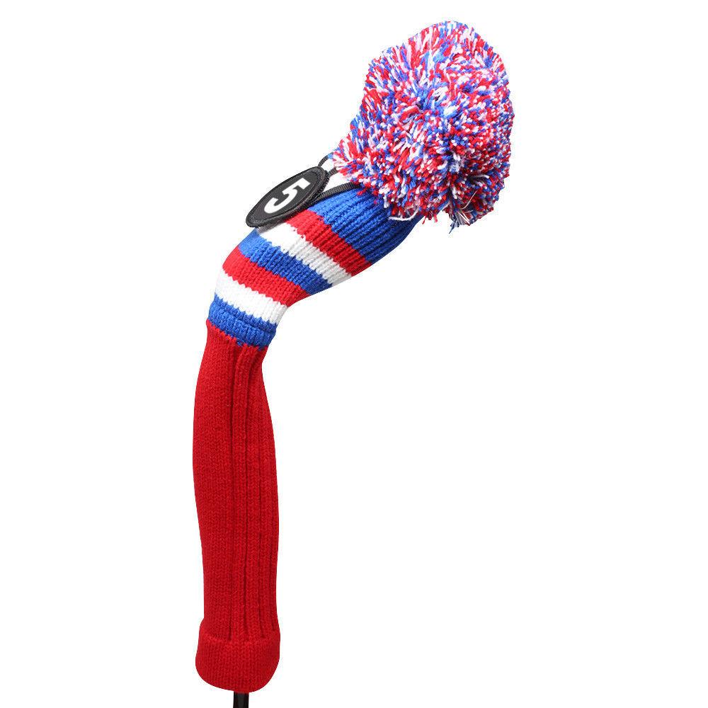Majek Golf Red White Blue #5 Hybrid Pom Pom Knit Rescue Utility Club Head Cover