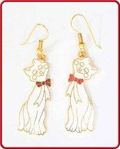 Cloisonne Enamel White Cat Earrings 1970s vintage - $14.80