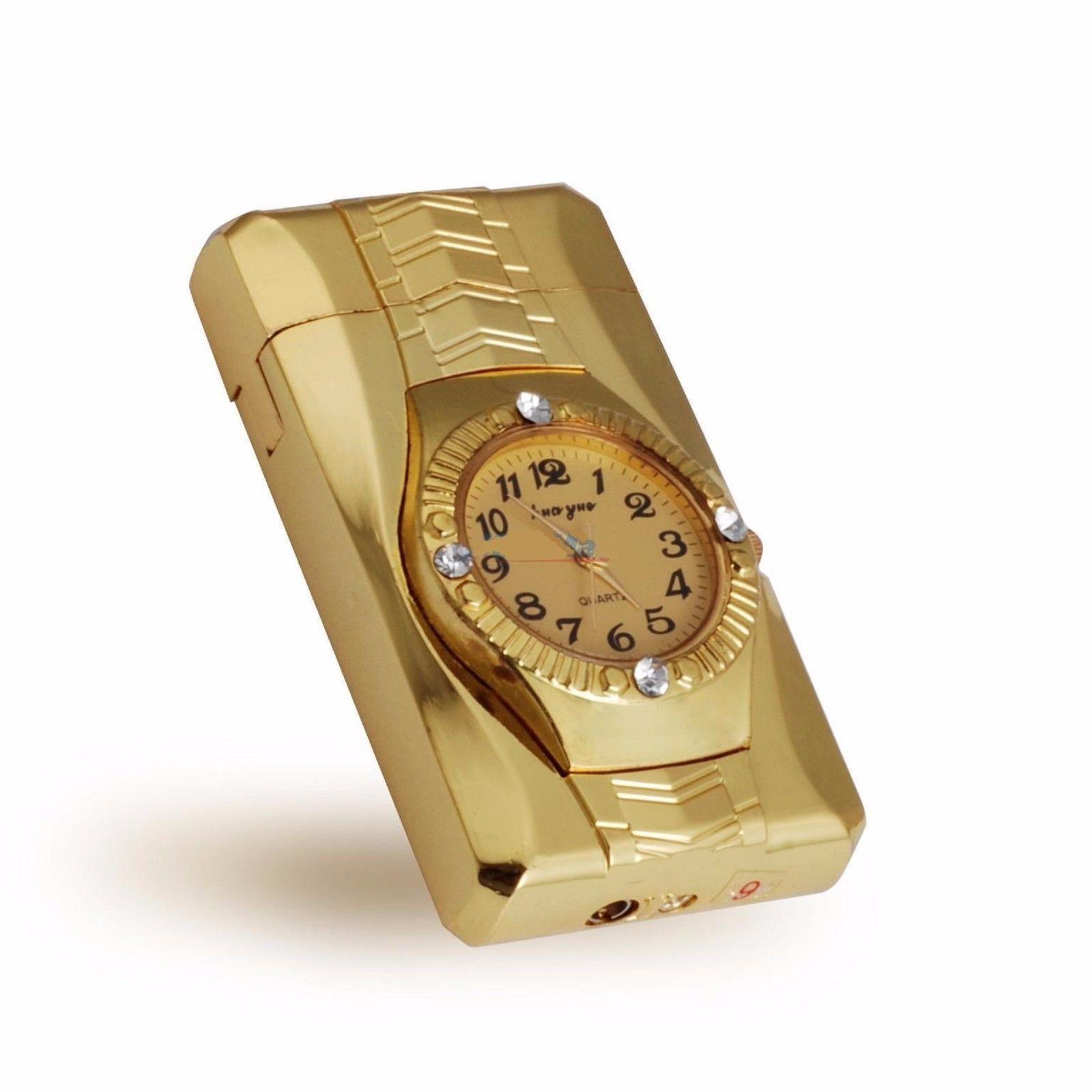 Luxury Golden Watch Shaped Windproof Butane Refillable Cigarette Cigar Lighter