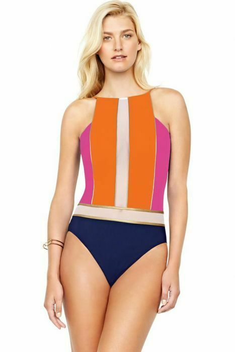 Gottex Maritime Orange High Neck One Piece Swimsuit Size 10 MSRP: $188.00