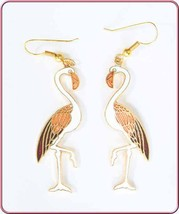 Elegant White Cloisonne Enamel Flamingo Earrings 1970s vintage - $14.80
