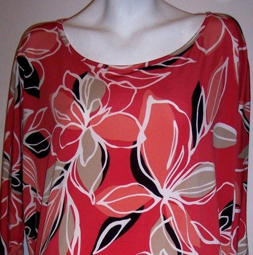JM Collection Top 2X Stretch Knit Boho Floral Tunic Shirt Blouse Plus Size 2X