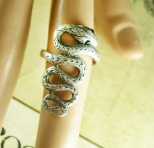 Sterling snake ring with a serpent that crawls down your finger black rhinestone - $145.00