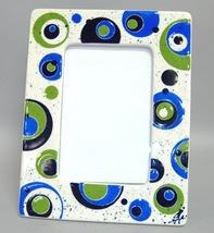Picture Frame Blue Green Circles Retro Mid Century Modern Ceramic Photo 4x6 - $39.00