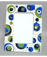 Picture Frame Blue Green Circles Retro Mid Century Modern Ceramic Photo 4x6 - $39.00