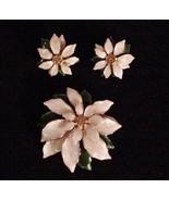 Vtg ENAMEL EARRINGS 3 TIERED FLOWER BROOCH UNSIGNED SUPERB - $74.25