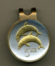 "Iceland 5 kronur ""Dolphins"" 2-Toned Gold on Silver coin golf marker - $60.00"