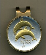 """Iceland 5 kronur """"Dolphins"""" 2-Toned Gold on Silver coin golf marker - $60.00"""
