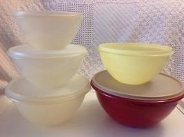 Veg Set Tupperware Wonderlier 5 Nesting Mixing Bowls 4 Lids - $24.26