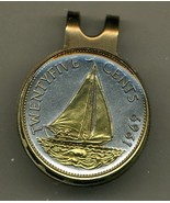 "Bahamas 25 cent ""Sail boat"" 2-Toned Gold on Silver coin golf marker - $60.00"