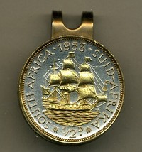 "So. African ½ penny ""Sailing ship"" 2-Toned Gold on Silver coin golf marker - $70.00"