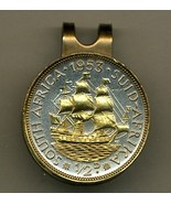 """So. African ½ penny """"Sailing ship"""" 2-Toned Gold on Silver coin golf marker - $70.00"""