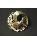 Gold Tone Swirl Leaf Brooch - $12.00
