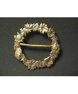 Gold Tone Flower Wreath Brooch - $10.00