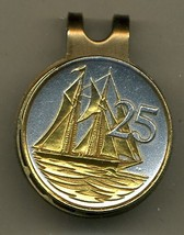 "Cayman Islands 25 cent ""Sail boat"" 2-Toned Gold on Silver Coin Golf Marker - $62.00"