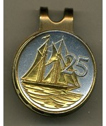 """Cayman Islands 25 cent """"Sail boat"""" 2-Toned Gold on Silver Coin Golf Marker - $62.00"""
