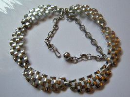Vintage Coro Necklace. Silver Tone Solid Weave Design. - $12.50