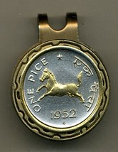 "India 1 pice ""Horse"" (nickel size) 2-Toned Gold on Silver coin golf marker - $54.00"