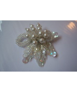 Vintage White Shoe Clips. Sequins And Faux Pearls. Wedding Shoe Clips. - $10.00