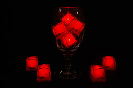 Set of 8 Litecubes Jewel Color Tinted Ruby Red Light up LED Ice Cubes - $16.95