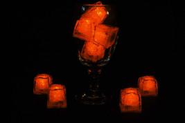 Set of 8 Litecubes Jewel Color Tinted Amber Orange Light up LED Ice Cubes - $16.95