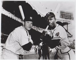 Mickey Mantle Hank Aaron HMSN Yankees Braves Vintage 8X10 BW Baseball Photo - $4.99