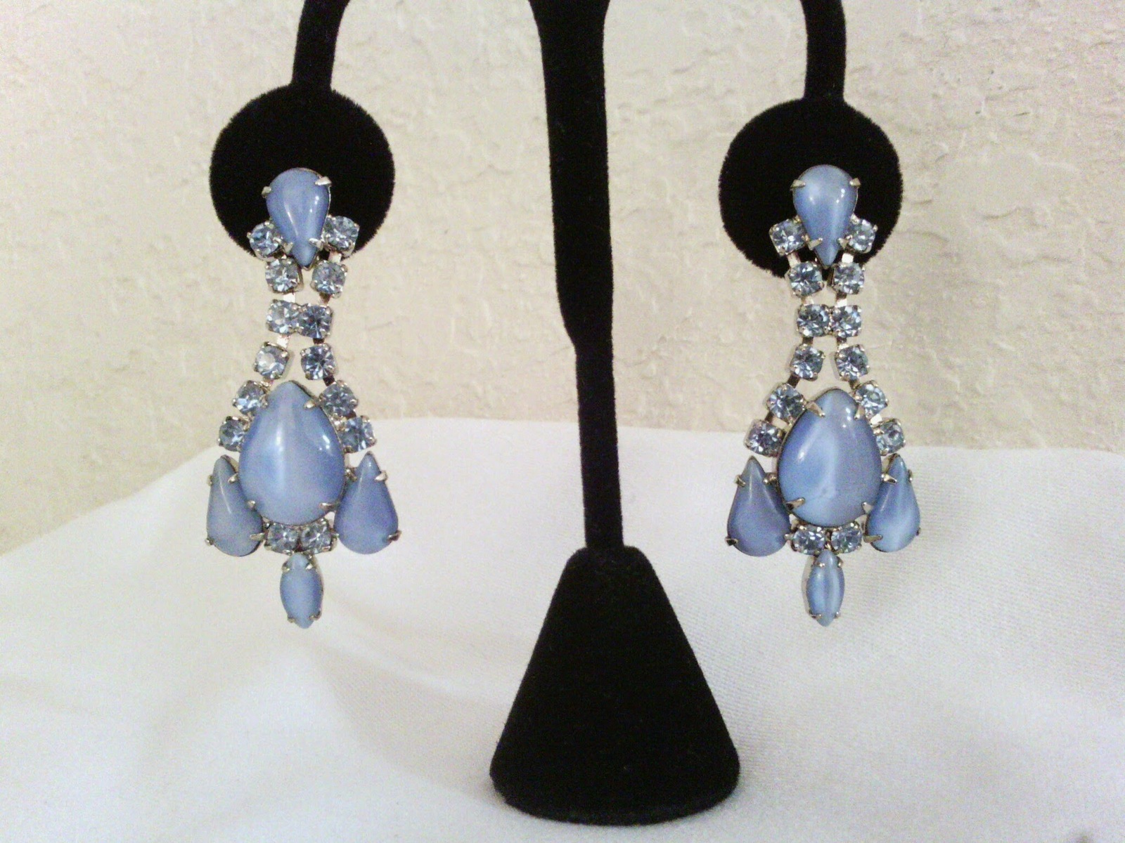 Blue Moonglow and Crystals Vintage Estate Drop Earrings