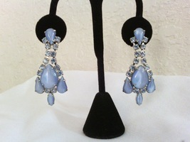 Blue Moonglow and Crystals Vintage Estate Drop Earrings - £18.78 GBP