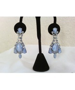 Blue Moonglow and Crystals Vintage Estate Drop Earrings - £18.53 GBP