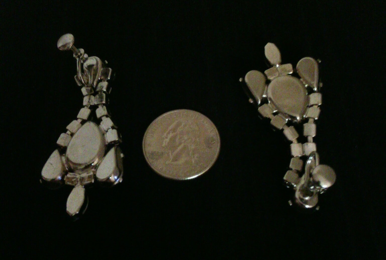 Blue Moonglow and Crystals Vintage Estate Drop Earrings