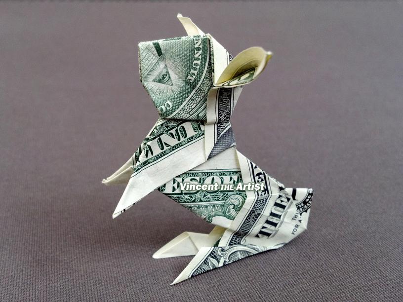 Sitting Bunny Money Origami Animal Dollar And Similar Items