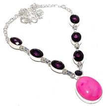 "Pink Agate Druzy, Amethyst Ethnic Jewelry Necklace 18"" RN275 - $9.99"