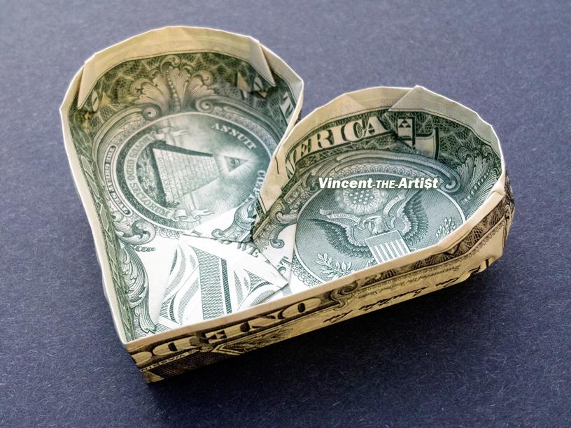 Dollar Bill Heart Origami | Dollar bill origami, Dollar heart ... | 612x816