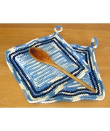 Denim and Navy Kitchen Potholders - Tunisian Cr... - $14.00