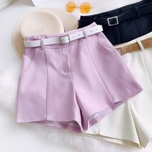 New lavender casual women shorts with pockets and belt spring summer - $34.00