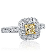 0.94 Ct Natural Radiant Cut Yellow Diamond Engagement Ring Halo 18k Whit... - $1,608.65