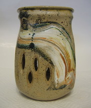 Studio Art Pottery Vase Hand Thrown and Hand Built Ceramic Cut Work - $57.91