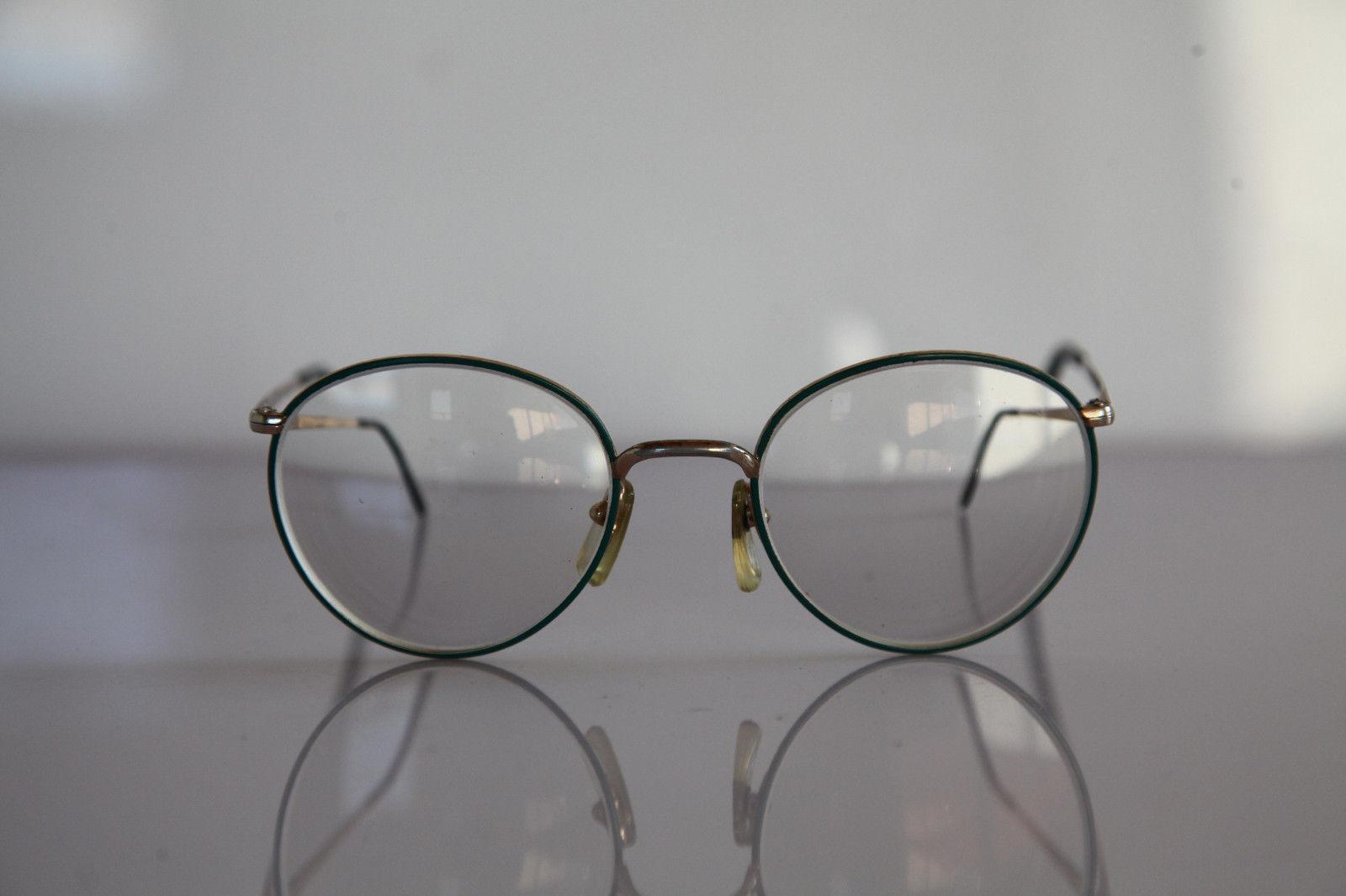 Vintage L'AMY Eyewear, Gold, Green Frame,  RX-Able Crystal Prescription lens.