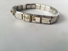 D'Linq Italian Charm Bracelet Vintage Silver Tone Stretch Custom - $23.24