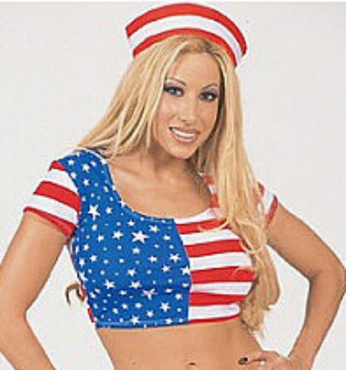 American Flag Star Spangled Print Baby Doll Crop Top o/s