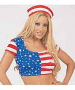 American Flag Star Spangled Print Baby Doll Crop Top o/s - $29.99
