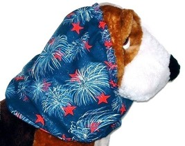 Dog Snood-Patriotic Fireworks Sparkle Cotton-Cavalier Puppy SHORT CLEARANCE - $4.75