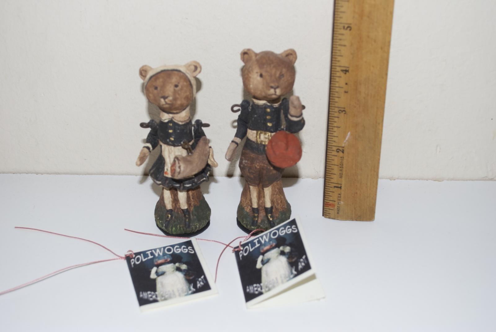 Poliwoggs American Folk Art Paper Maché Pilgrim Teddy Bears Thanksgiving 1998