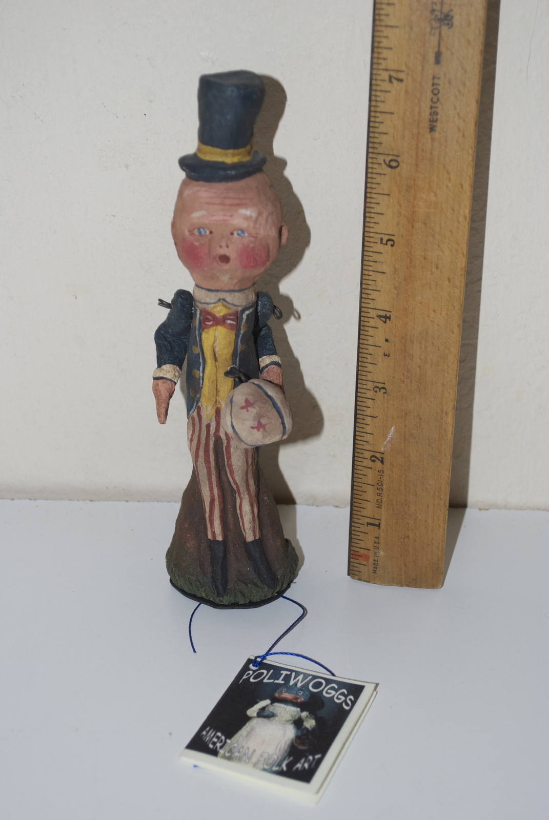 Poliwoggs American Folk Art Paper Maché 1998 Uncle Sam 4th of July Figurine