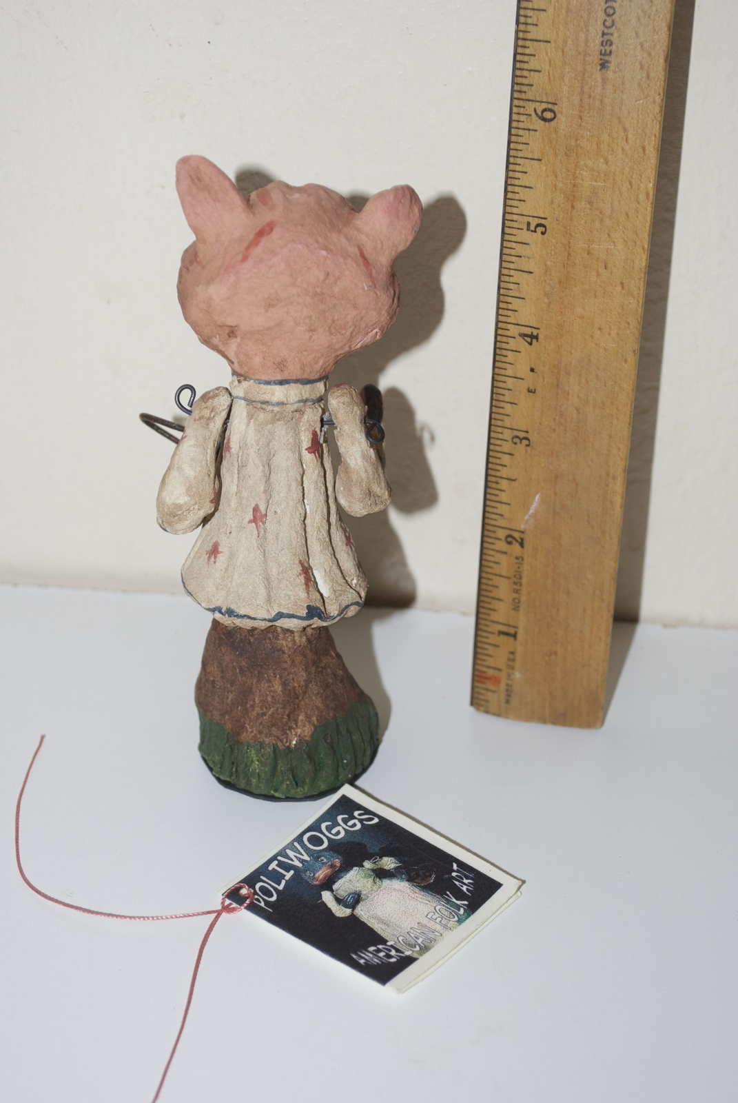 Poliwoggs American Folk Art Paper Maché 1998 Figurine Pig Girl with Watering Can