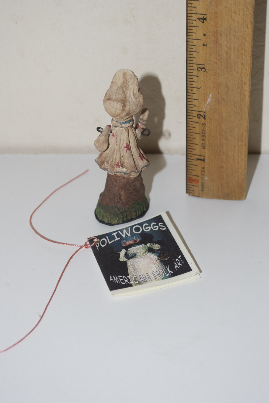 Poliwoggs American Folk Art Paper Maché 1998 Figurine Small Bunny Rabbit Girl