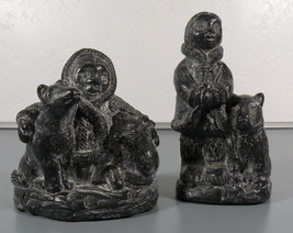 Man and Woman Eskimo and Bears 2 FIGURINES Wolf Original Carved Canada S... - $39.95