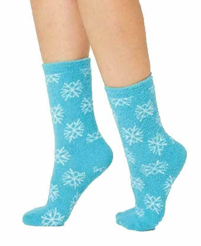 Women's Charter Club Teal White Super SOFT Snowflake Winter Holiday Socks NWT