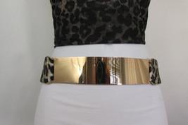 New Women Leopard Black Elastic Waist Fashion Belt Gold Metal Plate Mirr... - $14.99