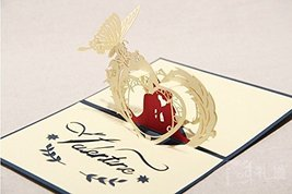 3D Laser-cut Gift & Greeting Card With Lover & Heart for Valentine Day Sweet ...